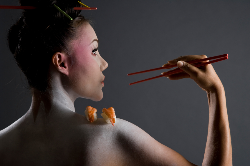 Nude Geisha Girl With Chopsticks & Sushi